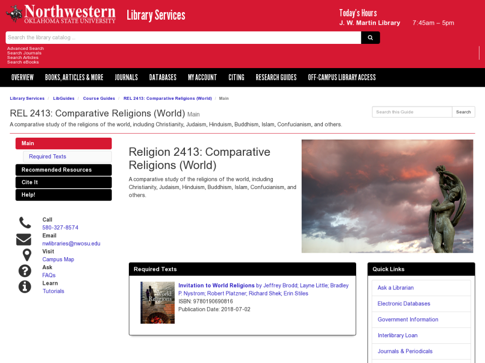 Screenshot of Comparative Religions guide